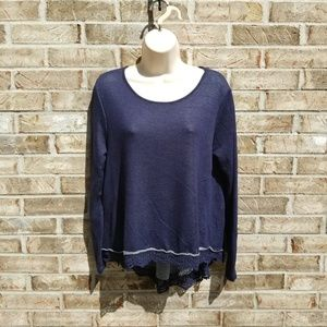 Alter'd State> Navy Super Soft Lace Trimmed Top